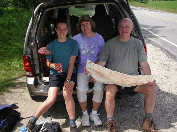 A decade ago, my daughter (trail name Steady) was thrilling to the adventure of a SOBO AT thru-hike. Mommy Hugs and I went up to meet her at Hikers Welcome Hostel in Glencliff, NH, and tracked her and her chums all the way down to Vermont. One day we stopped at a NH road crossing and took a break in the back of our rented minivan. Mom was quite pleased to see Steady all safe and sound, and I was too. Stay vertical and keep walking. It's Autumn!